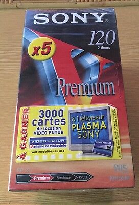 SONY PACK 5 Cassettes VHS 120 Neuves NEUF NEW PREMIUM NICAM K7 VIDEO