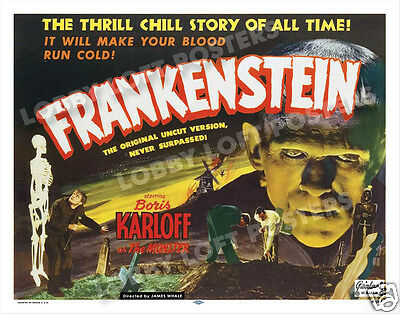 Frankenstein Lobby Card Poster Hs 1951-R Realart Boris Karloff Colin Clive