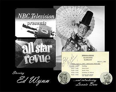 "1952 NBC All Star Revue ""Ed Wynn Show"" TV Script & Call Sheets + Autographs"