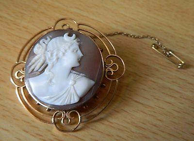 19th C goddess Luna 9ct gold carved shell cameo 8.9 gr.