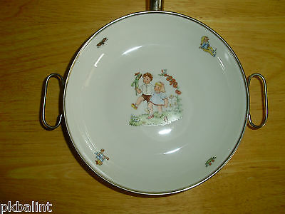 Baby Bowl Porcelain Food Dish Metal Warmer Western Germany Excellent Condition