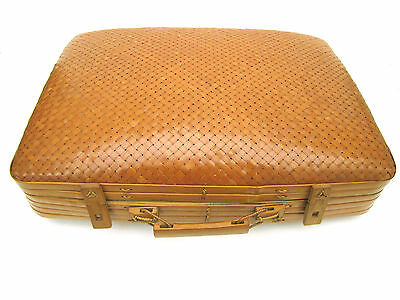 WOVEN DYED WICKER BAMBOO SUITCASE collectible vintage home decor