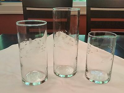 PRINCESS HOUSE HERITAGE CRYSTAL Set of 3 CYLINDER VASES CANDLE ETCHED CLEAR #435