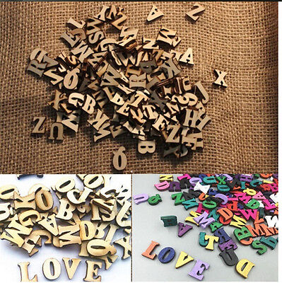 100X Letters Wooden Alphabet Embellishments Scrapbooking Cardmaking Craft giftFO