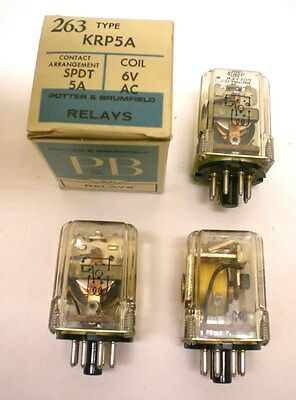 4 Potter Brumfield #KRP5A Relays, Plug-In, SPDT, 6V AC Coils, New, Made in USA