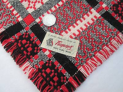 Vintage Tregwynt Welsh woollen blanket small fabric remnant red black & white .
