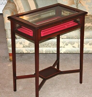 Edwardian Bijouterie Display Table,bevelled glass top and sides c1900.