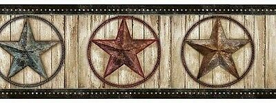 Weathered Barn Stars Wallpaper Border--Western/Cowboy/Country