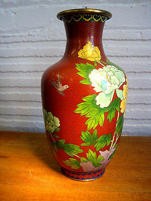 """Antique Brass Cloisonne Vase Birds and Flowers 12"""" tall"""
