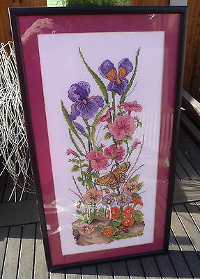 Large Pretty Vintage Hand Made Cross Stitch Framed Picture Flowers Butterfly