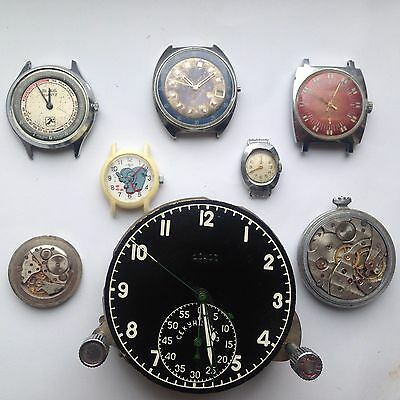 Lot of 5 VINTAGE WRISTWATCHES & 3 MOVEMENTS (MIG AIR CLOCK) NOT WORKING