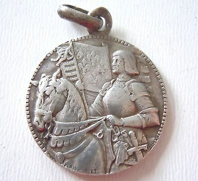 † SAINT JOAN OF ARC ~ RARE Antique Early 1900s Silver Medal by PENIN PONCET †