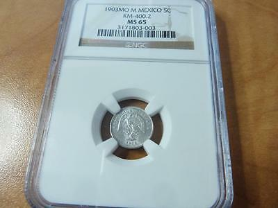 Mexico 5 Centavos 1903 Mo M Ngc Pro-Graded Ms-65   Z972