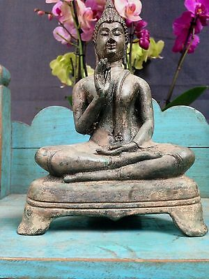 Sacred Bronze Seated Thai Buddha, S.e. Asia. Aged Patina. Particularly Serene.