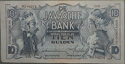 1934 Netherlands Indies Indonesia 10 Gulden - Very Fine VF w/ Holes P# 79