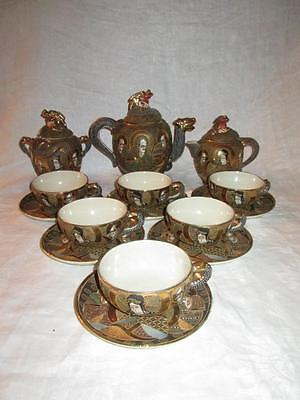 Antique Kyoto Choshuzan Satsuma Dragonware Moriage Meiji Period Tea Set.