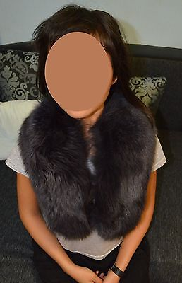 Collar a skin fur a polar fox blue gray for a coat or a jacket a cape