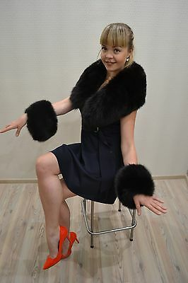 Collar and cuffs fur polar fox very fluffy for woman coat jacket cape