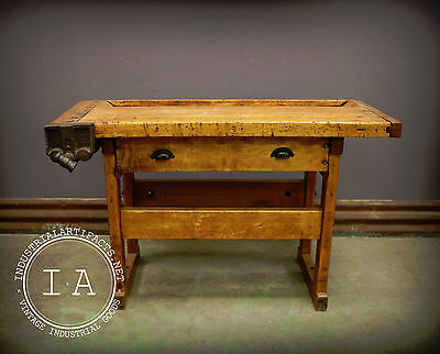 Vintage Industrial Woodworkers Maple Workbench Table Desk Kitchen Island
