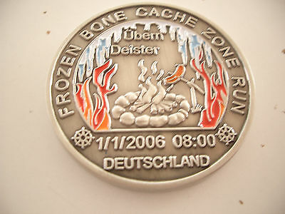 VHTF Event Coin Frozen Bone LE 2006 Geocoin, unactivated, trackable, ant. silver