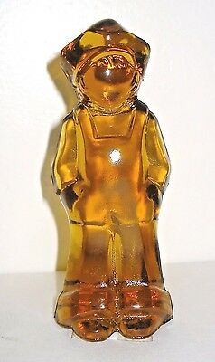Vintage Art Mosser Amber Glass Boy Figurine Paperweight Nr