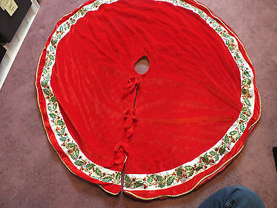 "Beautiful Christmas Tree Skirt Red Velour Sequins Gold Glitter Ribbon 45"" NICE"