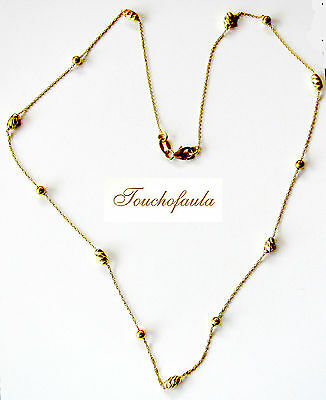 """14K Yellow Gold Adorable16"""" Diamond cut Beads Necklace Made in Italy."""