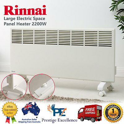 Rinnai 2200W Electric Manual Space Panel Heater with Castor Wheels & Wall Mounts