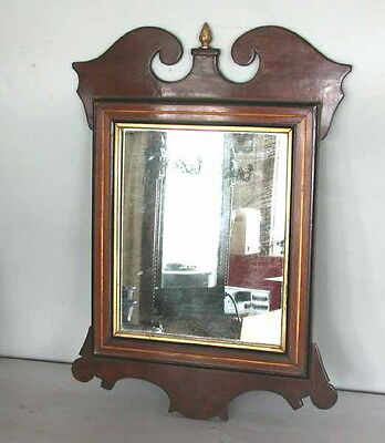 Antique Chippendale Georgian Mahogany Looking Glass Wall Mirror