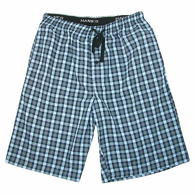 New Hanes Men's Cotton Madras Drawstring Sleep Pajama Shorts