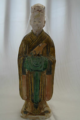 Ancient Chinese Ming Dynasty Sancai Glazed Chancellor Figure, 1368–1644