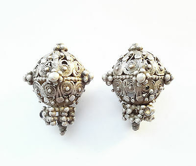 Antique Very rare and unique Bedihi 2 Silver Beads from Yemen