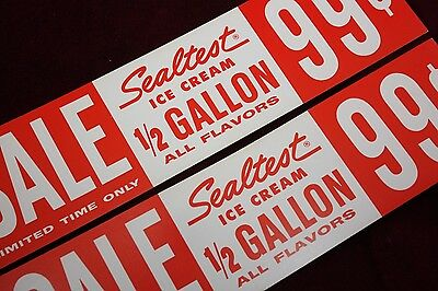 * Vintage Sealtest Ice Cream Advertising Display Sign Original 1/2 Gallon Nos **