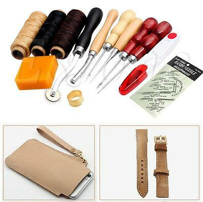 13Pcs Leather Craft Hand Stitching Sewing Tool Thread Awl Waxed Thimble Kit AUED