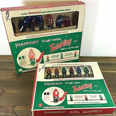 Vintage Lot of 2 Paramount Christmas Lights Strings Indoor & Outdoor Unused