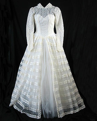 Wedding Dress Vintage 1950's Ivory Lace Marie of Pandora Long Sleeves Buttons
