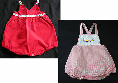2 Vintage Rompers 6-9 Months Penney's Toddletime Cotton Embroidered Sailboats