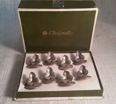 Christofle 8 Place Name Card Menu Holders Wine Grape Leaves with original box