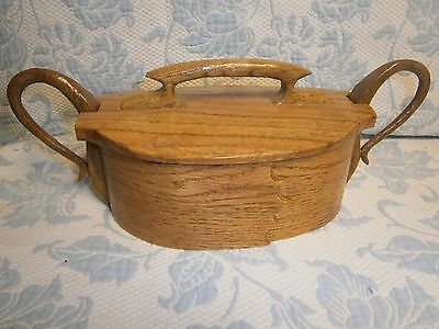 Unusual Oval Bent Wood Basket Handmade Shaker Style Double Lid Sewing Box