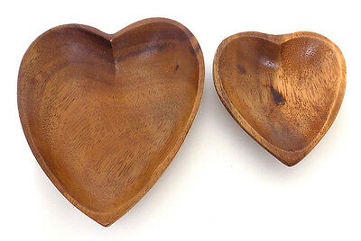 2 Shallow Wooden heart Shaped Bowls