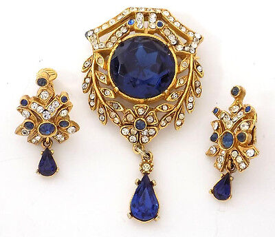 Vintage  Signed ART Goltone Pin & Earrings Clear Rhinestones Blue Glass Drops