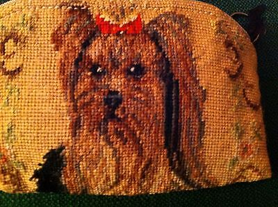 Used Yorkshire Terrier Needlepoint Small Change Purse Burberry Back  -