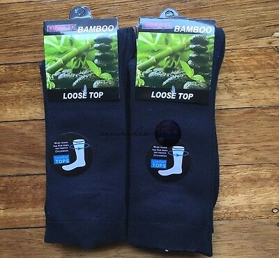 12 Pairs SIZE 6-11 95% Loose Top BAMBOO SOCKS Medical Diabetic Comfort Navy