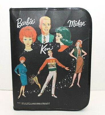 Vintage Barbie Mattel  3 Ring Binder - Barbie Midge Ken - Black 1964