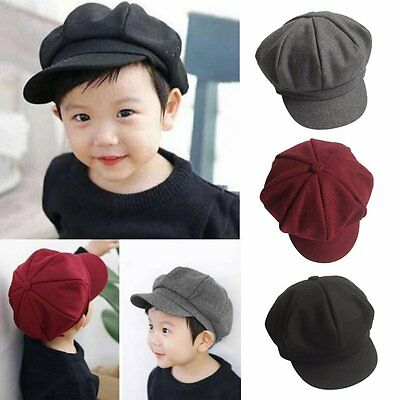 Child Baby Kid Boy Girl Winter Soft Woolen Beret Cap Dome Octagonal Hat Sun Cap