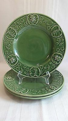 Bordallo Pinheiro Portugal Lot Of 3 Frog Service Dinner Plates Frogs Lily Pads