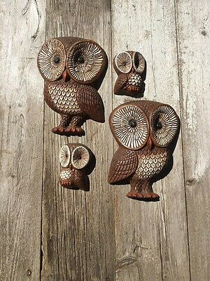 Vintage Set of Owl Wall Hangings from 1970's
