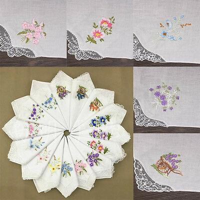 6pcs Women Butterfly Flower Embroidery Cotton Lace Handkerchiefs Floral Assorted