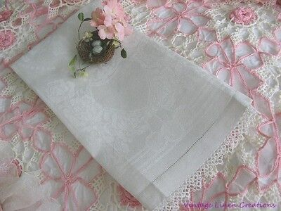 ANTIQUE ROMANCE * White ROSES DAMASK & TATTED LACE Vintage ART DECO LINEN TOWEL