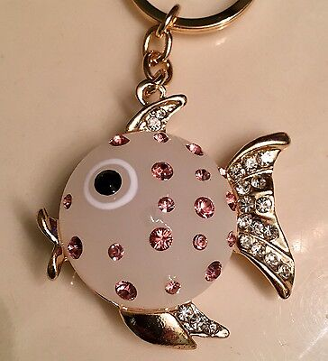Fish Keyring Cute Rhinestone Crystal Charm Pendant Key Bag Chain Gift